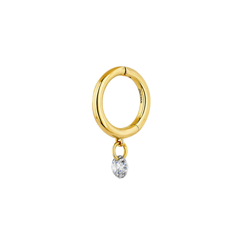 Gold diamond hoop earrings, J04423-02-H, hi-res