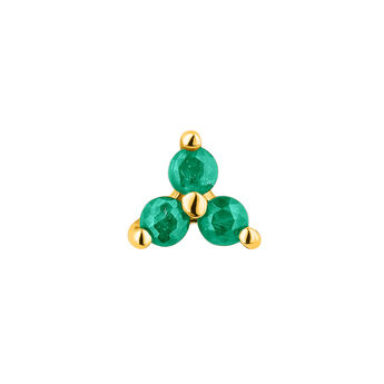 Mini gold clover emerald earring, J04347-02-EM-H, hi-res