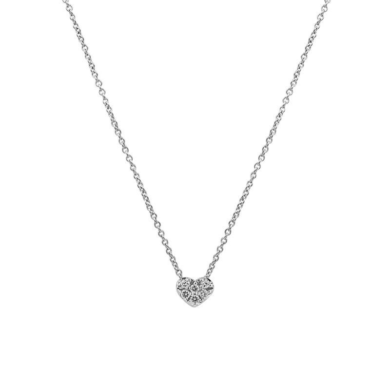 White gold mini heart necklace 0.05 ct, J01635-01, hi-res