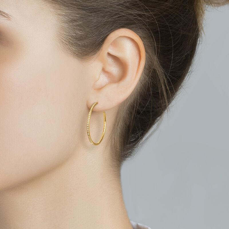 Gold topaz hoop earrings, J04030-02-WT, hi-res