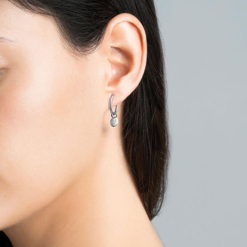 Silver V letter necklace, J03455-01-V, hi-res
