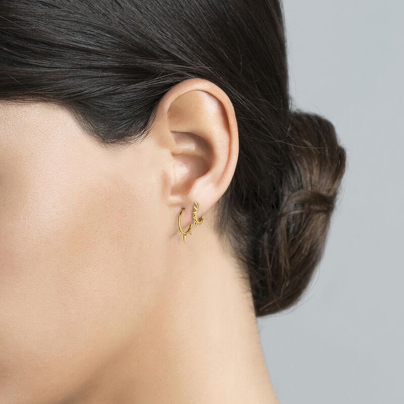 Boucle d'oreille piercing créole trois pointes or, J03845-02-H, hi-res