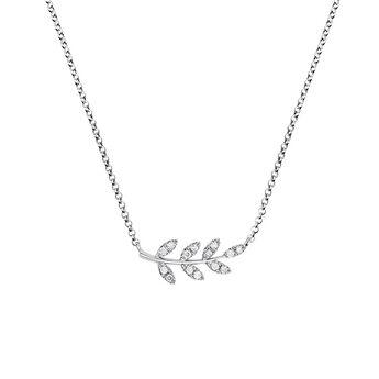 Collier feuilles diamants argent, J03122-01-GD, hi-res