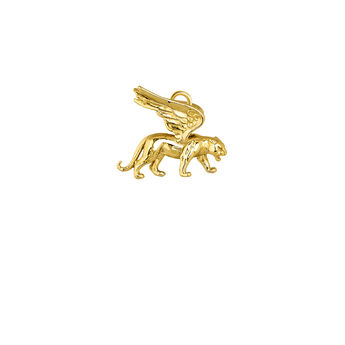 Gold plated winged panther pendant, J04026-02, hi-res