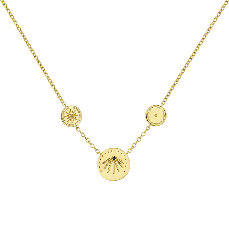 Gold plated round motifs etnic necklace with spinels, J04452-02-BSN, hi-res