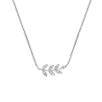 Silver leaves necklace with diamonds, J03122-01-GD, hi-res