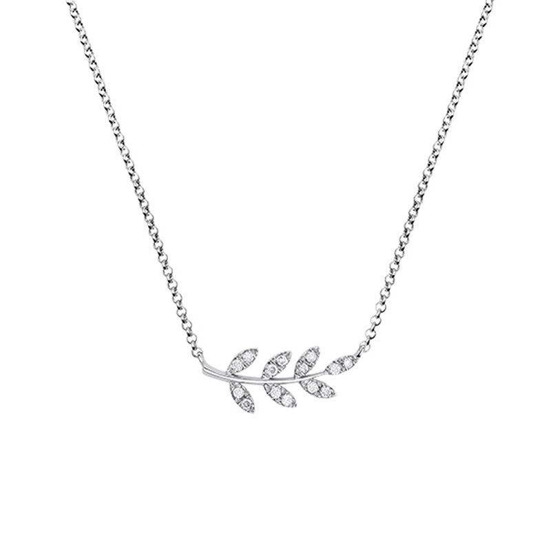 Collier feuilles diamants argent, J03122-01-GD, hi-res