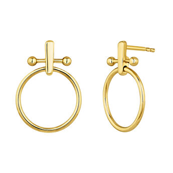 Gold plated silver piercing bar hoop earrings, J04318-02, hi-res