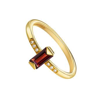 Gold rectangular stone ring, J03955-02-GAR-WT, hi-res