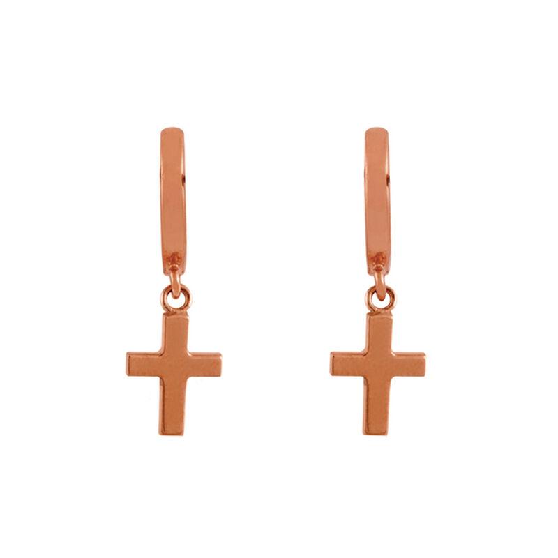 Pendientes aro cruz plata recubierta oro rosa, J01904-03, hi-res