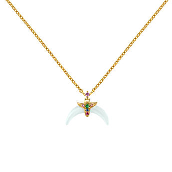 Gold plated multi-stone motifs aquamarine horn necklace, J04316-02-AQMULTI, hi-res