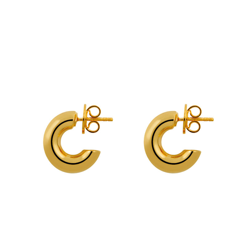 Mini gold plated thick hoop earrings, J01446-02, hi-res