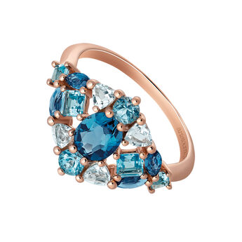 Medium rose gold plated ring with topaz, J03417-03-LBSBSK, hi-res