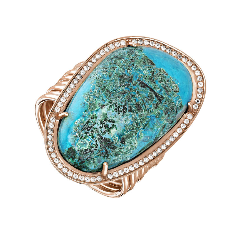 Large pink gold plated chrysocolla boho ring, J04113-03-CH-WT, hi-res