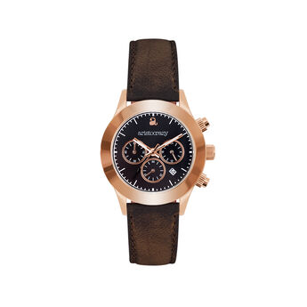 Soho watch rose gold bracelet black face., W29A-PKPKBL-LEBR, hi-res