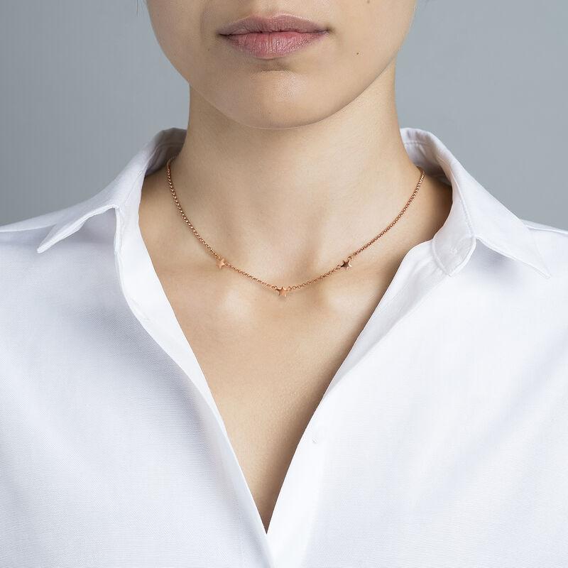 Rose gold mini stars necklace, J01900-03, hi-res