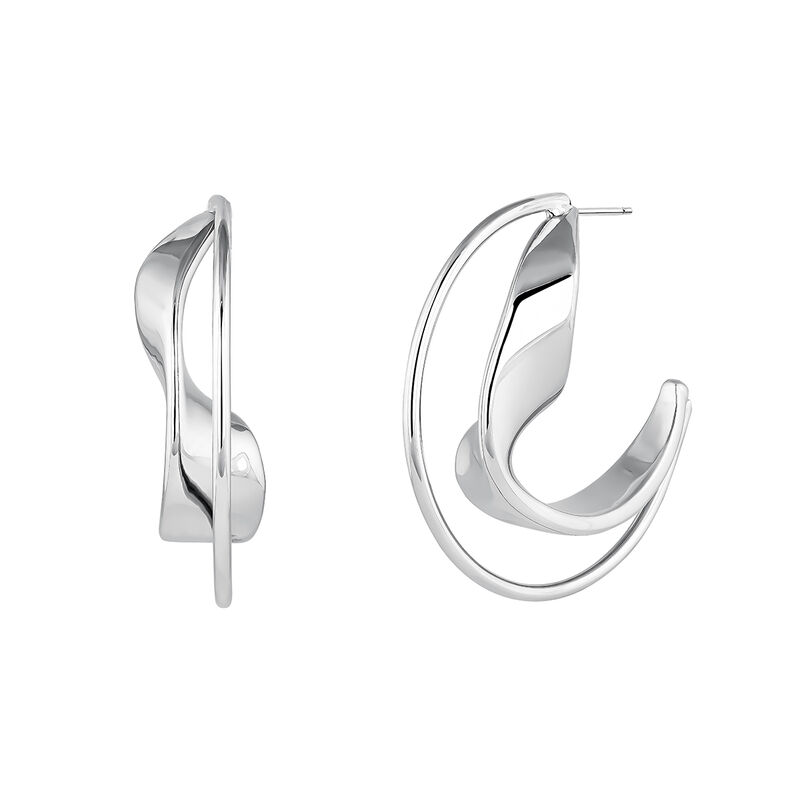 Large sculptural hoop earrings silver, J04218-01, hi-res