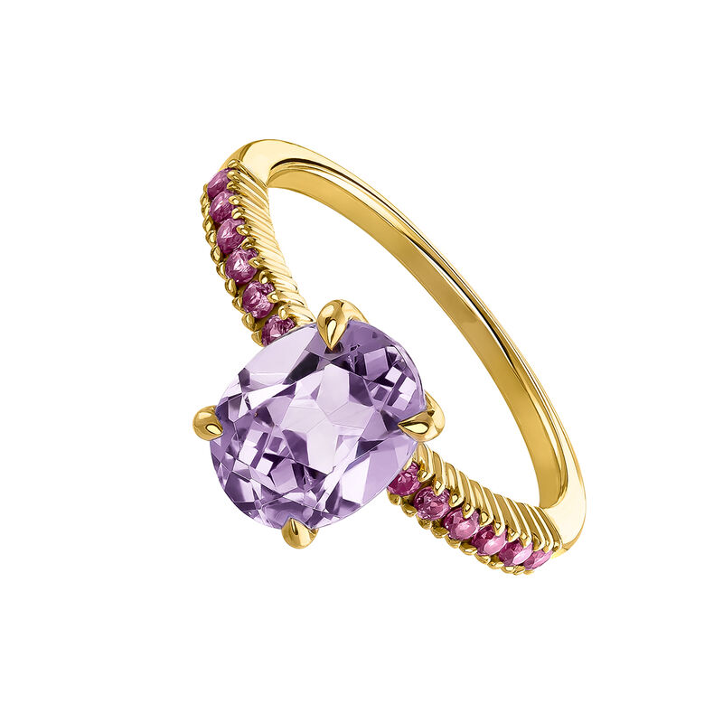 Gold plated amethyst ring, J03749-02-PAM-RO, hi-res