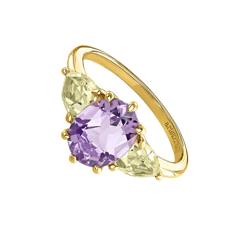 Gold plated Amethyst Tresillo Ring, J03748-02-AM-LQ, hi-res