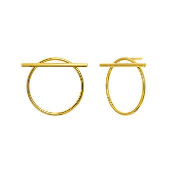 Gold hoop earrings with bar, J03654-02, hi-res