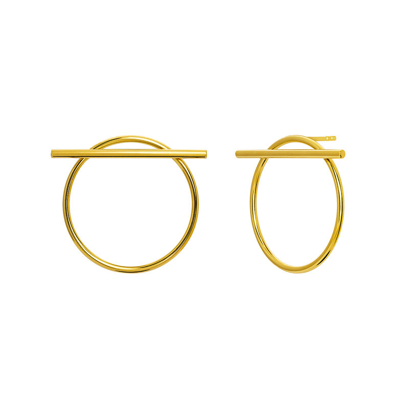 Gold hoop earrings with bar
