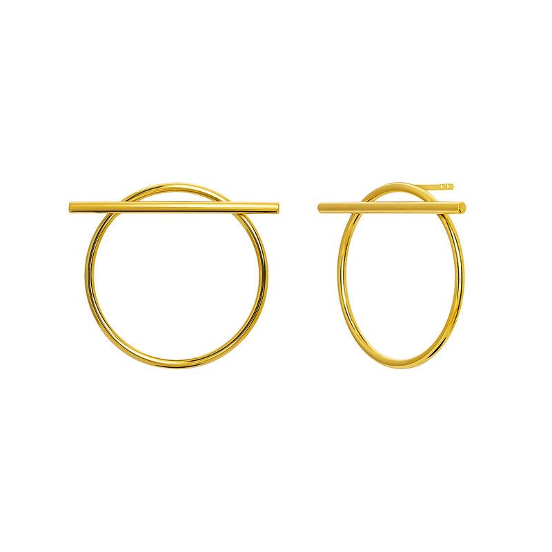 Boucles d'oreilles créoles avec barre or, OR, hi-res