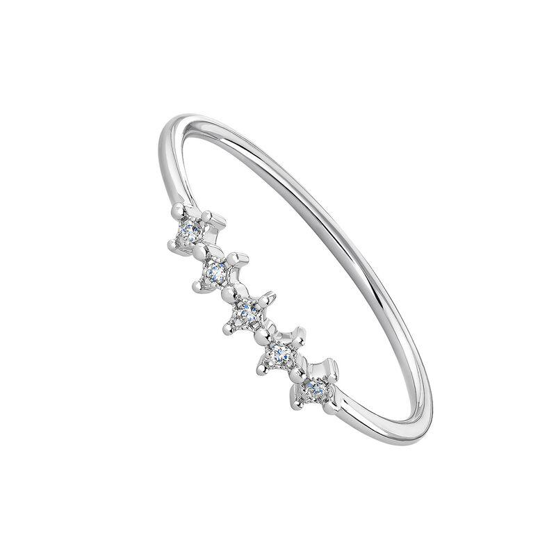 9kt white gold five diamond ring, J04495-01, hi-res