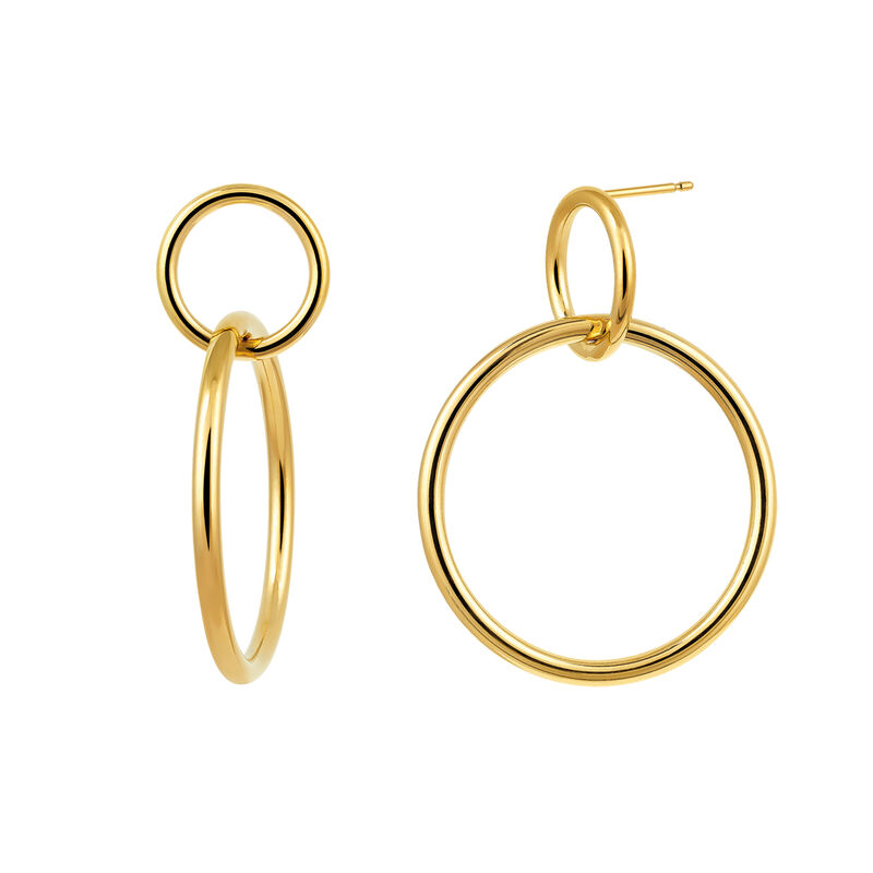 Gold plated double hoop earrings, J03432-02, hi-res