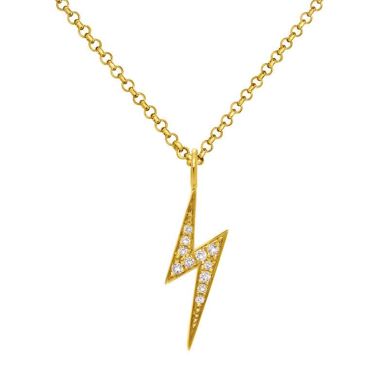 Gold topaz necklace with lightning bolt, J03638-02-WT, hi-res