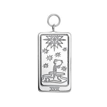 Silver Les ƒtoiles card pendant, J04042-01, hi-res