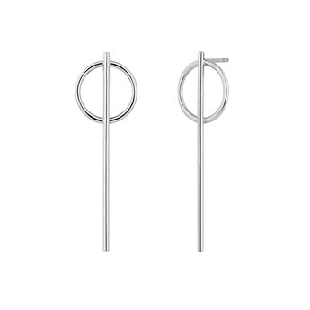 Long silver bar hoop earrings, J04217-01, hi-res