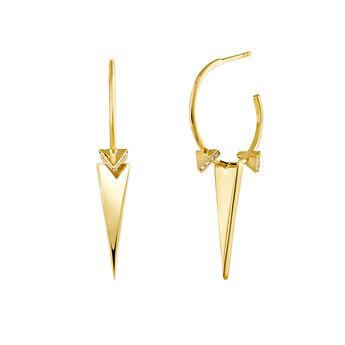 Gold triangle hoop topaz earring, J03965-02-WT, hi-res