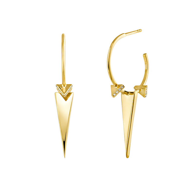 Gold plated triangle hoop earring with topaz, J03965-02-WT, hi-res
