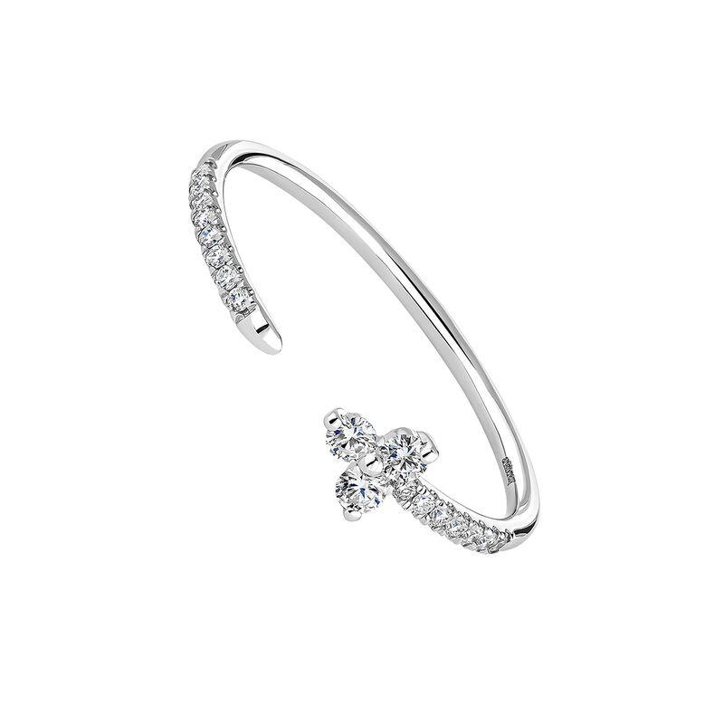 Anillo Trébol Tú y Yo diamantes oro blanco, J04433-01, hi-res