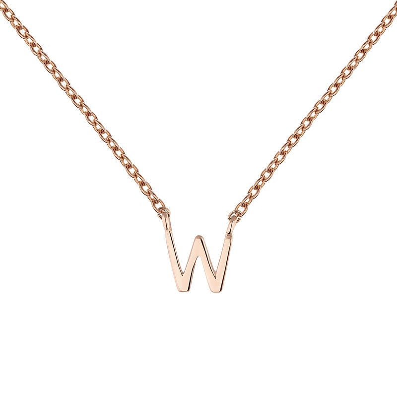 Collier initiale W or rose, J04382-03-W, hi-res
