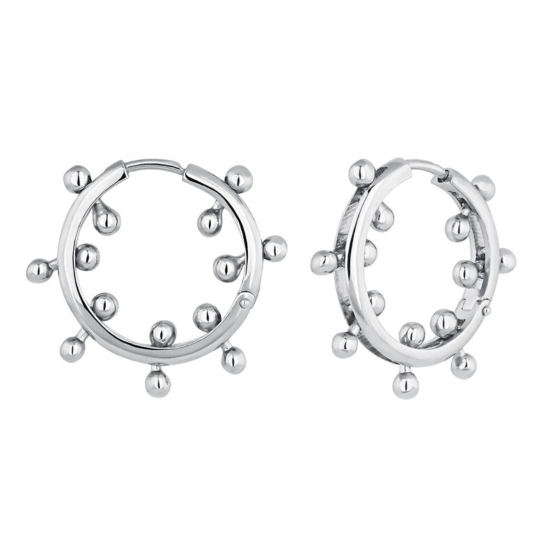 Silver piercing balls hoop earrings, J04320-01, hi-res