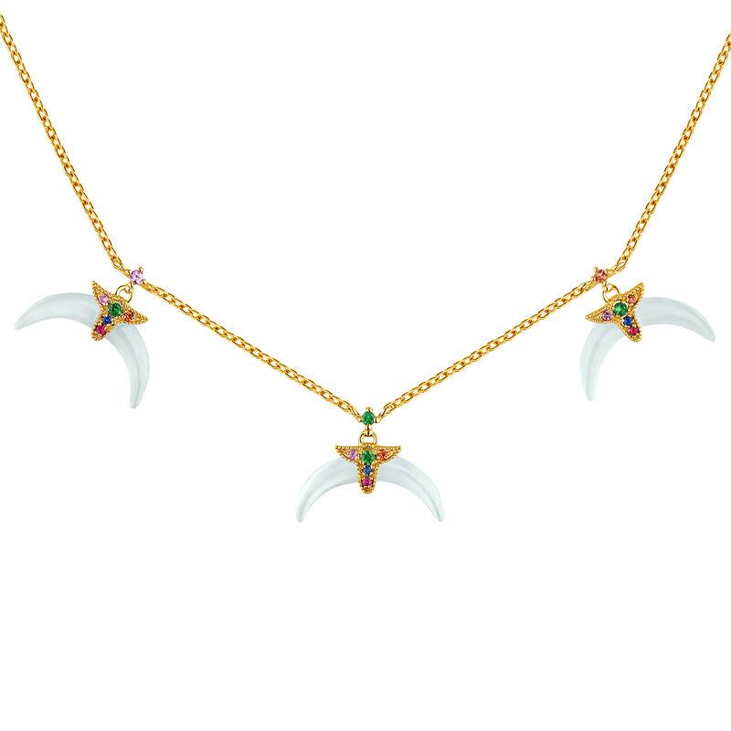 Gold plated aquamarine motifs horn necklace, J04314-02-AQMULTI, hi-res