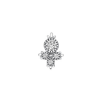 Boucle d'oreille 4 diamants or blanc 0,08 ct, J03384-01-H, hi-res