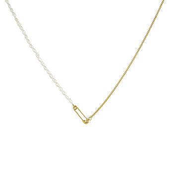 Collier épingle perles en argent plaqué or, J04573-02-WP, hi-res