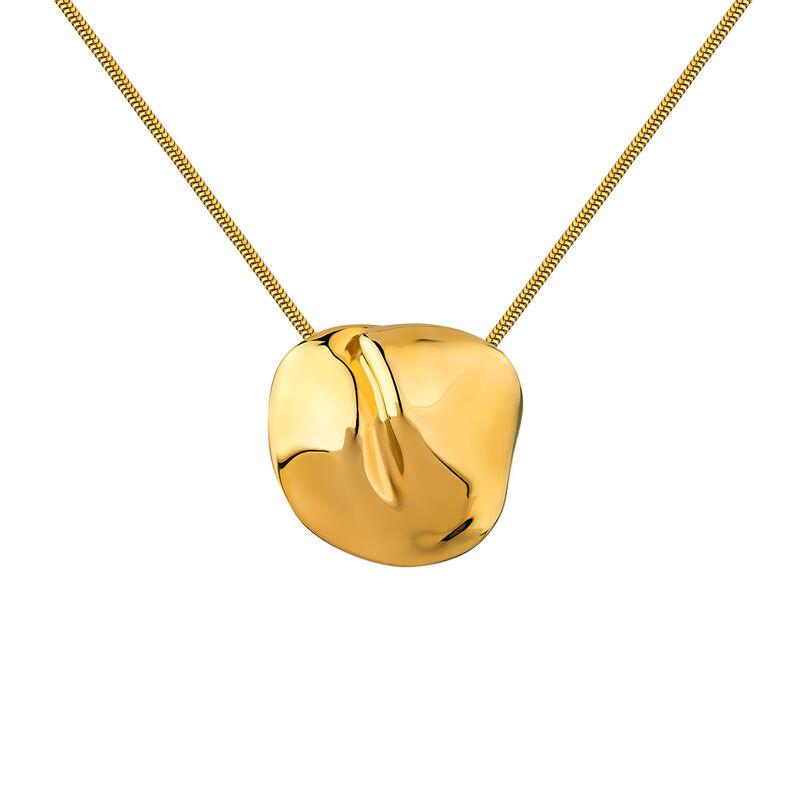 Collar motivo pétalo plata recubierta oro, J04386-02, hi-res