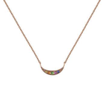 Rose gold multicolor sapphire and tsavorite crescent necklace, J04342-03-MULTI, hi-res