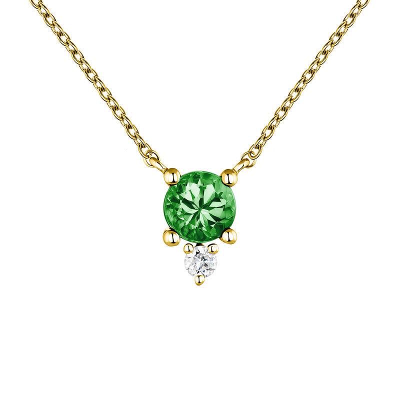 Colgante esmeralda y diamante oro, J04081-02-EM, hi-res