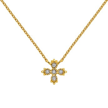 Gold necklace five diamonds, J03396-02, hi-res