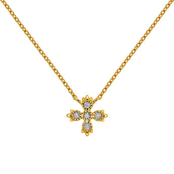 Collier 5 diamants or, J03396-02, hi-res