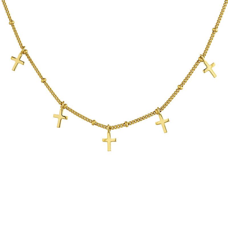Collier croix multiples argent plaqué or, J04863-02, hi-res