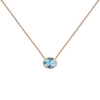Rose gold plated topaz necklace, J04687-03-SB, hi-res