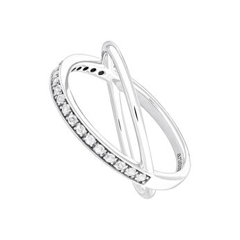 Silver smooth and pavé criss-cross ring, J04032-01-WT, hi-res