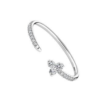 Anillo Trébol abierto diamantes 0,135 ctoro blanco, J04433-01, hi-res