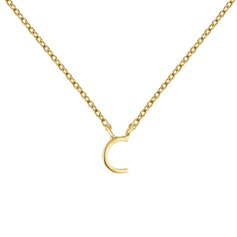 Gold Initial C necklace, J04382-02-C, hi-res