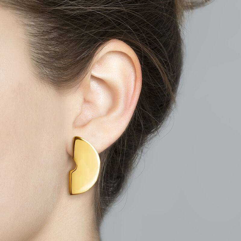 Large gold plated sculptural earrings, J03506-02, hi-res